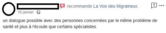 Recommandations Facebook La voix des Migraineux