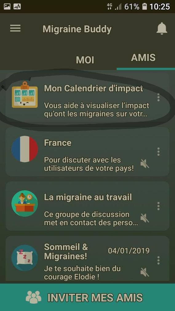 Capture d'écran Application BUDDY gestion migraine