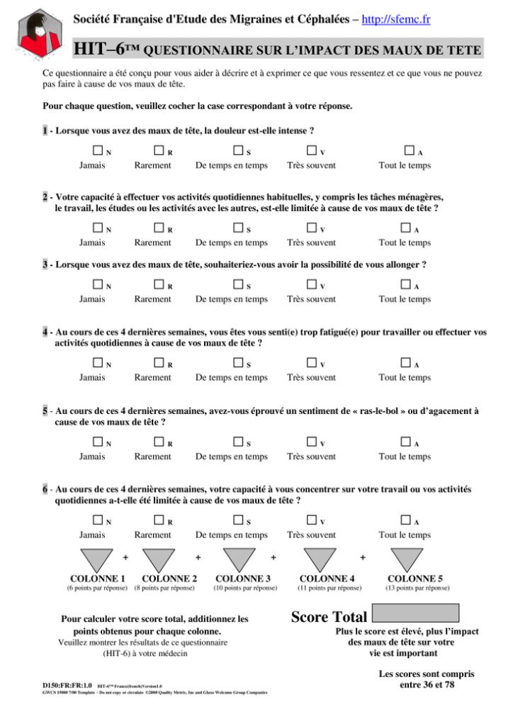 Questionnaire SFEMC impact migraine
