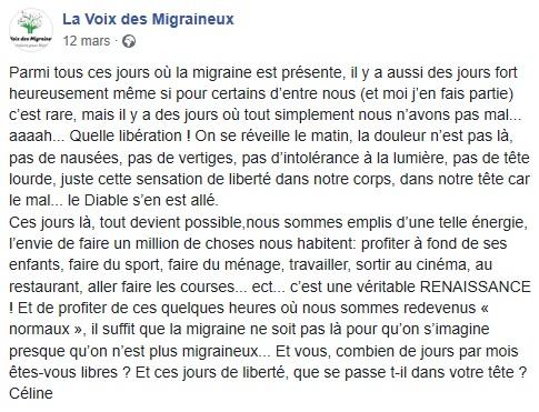 Témoignage Facebook, des jours sans crises, La voix des Migraineux