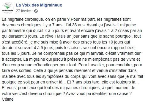 Témoignage Facebook sur la migraine chronique