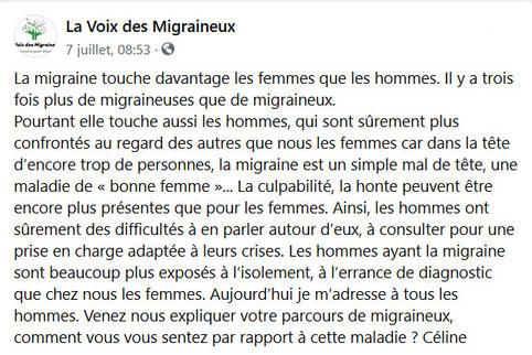 Témoignage Facebook Association la Voix des Migraineux